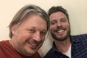 Richard Herring's Leicester Square Theatre Podcast. Image shows from L to R: Richard Herring, Rick Edwards.