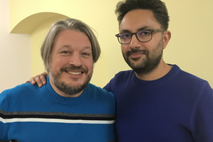 Richard Herring's Leicester Square Theatre Podcast. Image shows from L to R: Richard Herring, Sathnam Sanghera.