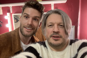 Richard Herring's Leicester Square Theatre Podcast. Image shows from L to R: Joel Dommett, Richard Herring.