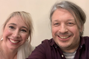 Richard Herring's Leicester Square Theatre Podcast. Image shows from L to R: Tiffany Stevenson, Richard Herring.