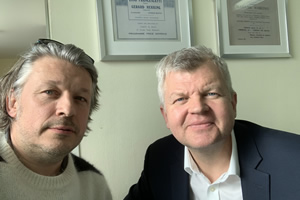 Richard Herring's Leicester Square Theatre Podcast. Image shows from L to R: Richard Herring, Adrian Chiles.
