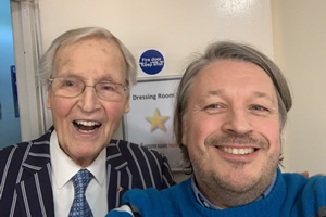 Richard Herring's Leicester Square Theatre Podcast. Image shows from L to R: Nicholas Parsons, Richard Herring.