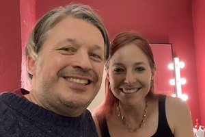 Richard Herring's Leicester Square Theatre Podcast. Image shows from L to R: Richard Herring, Alice Roberts.
