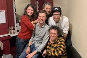 Richard Herring's Leicester Square Theatre Podcast. Image shows from L to R: Anna Ptaszynski, Andrew Hunter Murray, Richard Herring, Dan Schreiber, James Harkin.