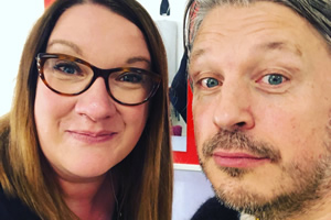 RHLSTP with Richard Herring. Image shows from L to R: Sarah Millican, Richard Herring.