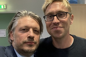 RHLSTP with Richard Herring. Image shows from L to R: Richard Herring, Russell Howard.