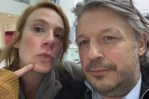 Richard Herring's Leicester Square Theatre Podcast. Image shows from L to R: Sara Barron, Richard Herring.