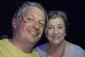 RHLSTP with Richard Herring. Image shows from L to R: Richard Herring, Caroline Quentin.