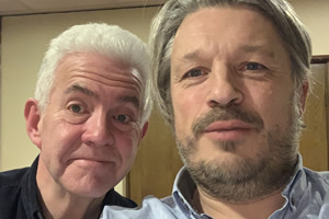 RHLSTP with Richard Herring. Image shows from L to R: Ian McMillan, Richard Herring.