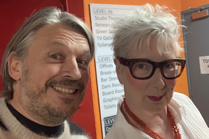 RHLSTP with Richard Herring. Image shows from L to R: Richard Herring, Jenny Eclair.