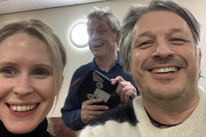 RHLSTP with Richard Herring. Image shows from L to R: Lucy Beaumont, Graham Fellows, Richard Herring.