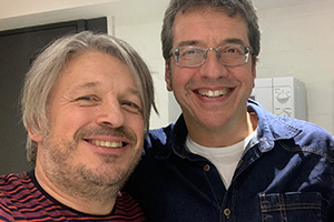 Image shows from L to R: Richard Herring, George Monbiot.