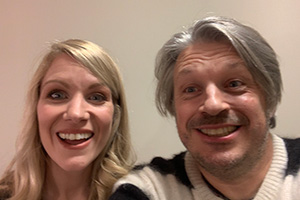 RHLSTP with Richard Herring. Image shows from L to R: Rachel Parris, Richard Herring.