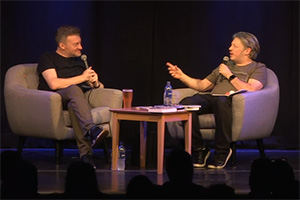 RHLSTP with Richard Herring. Image shows from L to R: Charlie Brooker, Richard Herring.
