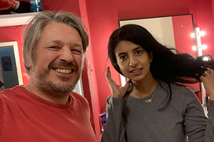 RHLSTP with Richard Herring. Image shows from L to R: Richard Herring, Konnie Huq.