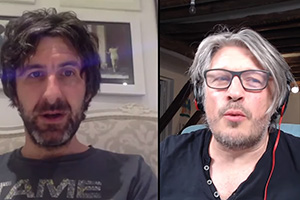 RHLSTP with Richard Herring. Image shows from L to R: Mark Watson, Richard Herring.