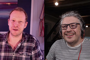 RHLSTP with Richard Herring. Image shows from L to R: Robert Webb, Richard Herring.