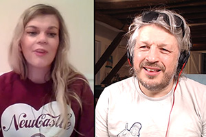 RHLSTP with Richard Herring. Image shows from L to R: Lauren Pattison, Richard Herring.