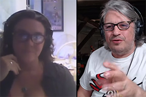RHLSTP with Richard Herring. Image shows from L to R: Bettany Hughes, Richard Herring.