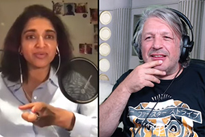 Image shows from L to R: Sindhu Vee, Richard Herring.