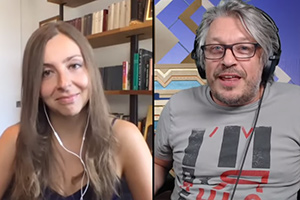 RHLSTP with Richard Herring. Image shows from L to R: Maria Konnikova, Richard Herring.