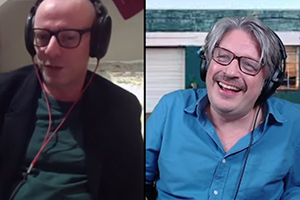 RHLSTP with Richard Herring. Image shows from L to R: Arthur Mathews, Richard Herring.