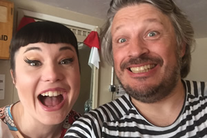 Richard Herring's Leicester Square Theatre Podcast. Image shows from L to R: Bec Hill, Richard Herring.