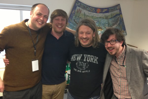 Richard Herring's Leicester Square Theatre Podcast. Image shows from L to R: Tom Parry, Ben Clark, Richard Herring, Matthew Crosby.