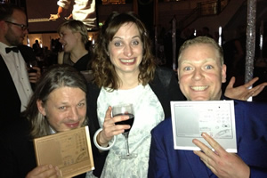 Richard Herring's Leicester Square Theatre Podcast. Image shows from L to R: Richard Herring, Isy Suttie, Rufus Hound.