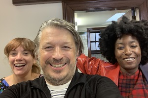 Richard Herring's Leicester Square Theatre Podcast. Image shows from L to R: Vikki Stone, Richard Herring, Sophie Duker.