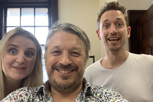 Richard Herring's Leicester Square Theatre Podcast. Image shows from L to R: Snjolaug Ludviksdottir, Richard Herring, John Robins.