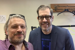 Richard Herring's Leicester Square Theatre Podcast. Image shows from L to R: Richard Herring, Richard Osman.