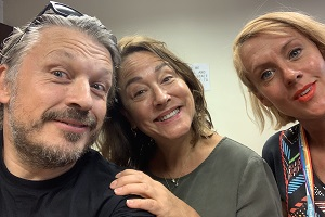 Richard Herring's Leicester Square Theatre Podcast. Image shows from L to R: Richard Herring, Arabella Weir, Bryony Kimmings.