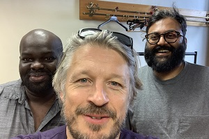 Richard Herring's Leicester Square Theatre Podcast. Image shows from L to R: Daliso Chaponda, Richard Herring, Sunil Patel.