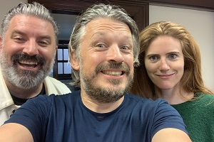 Richard Herring's Leicester Square Theatre Podcast. Image shows from L to R: Rich Wilson, Richard Herring, Sarah Kendall.