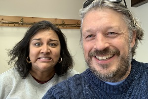 Richard Herring's Leicester Square Theatre Podcast. Image shows from L to R: Sukh Ojla, Richard Herring.