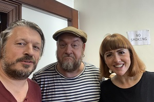 Richard Herring's Leicester Square Theatre Podcast. Image shows from L to R: Richard Herring, George Egg, Cally Beaton.