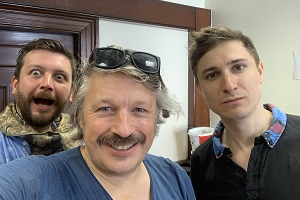 Richard Herring's Leicester Square Theatre Podcast. Image shows from L to R: Thom Tuck, Richard Herring, Tom Rosenthal.