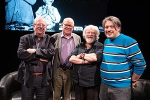 RHLSTP with Richard Herring. Image shows from L to R: Tim Brooke-Taylor, Graeme Garden, Bill Oddie, Richard Herring.