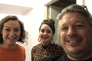 Image shows from L to R: Jessica Fostekew, Holly Burn, Richard Herring.