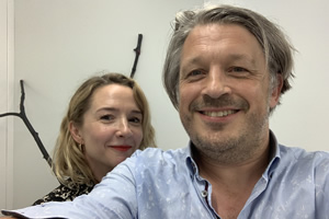 Richard Herring's Leicester Square Theatre Podcast. Image shows from L to R: Rebecca Callard, Richard Herring.