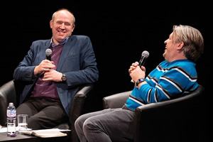 Richard Herring's Leicester Square Theatre Podcast. Image shows from L to R: Tim Vine, Richard Herring.