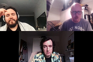 Rich Keeble Zoom Chats. Image shows from L to R: Sam (Sam LeGassick), Ben (Ben Rufus Green), Rich (Rich Keeble).