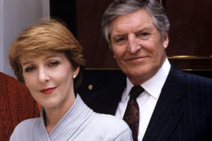 Rich Tea And Sympathy. Image shows from L to R: Julia Merrygrove (Patricia Hodge), George Rudge (Denis Quilley). Copyright: Yorkshire Television.