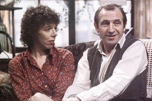 Rising Damp. Image shows from L to R: Ruth Jones (Frances de la Tour), Rupert Rigsby (Leonard Rossiter). Copyright: Yorkshire Television.