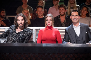 Roast Battle. Image shows from L to R: Russell Brand, Katherine Ryan, Jimmy Carr.