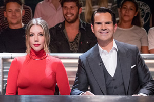 Roast Battle. Image shows from L to R: Katherine Ryan, Jimmy Carr.
