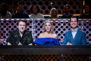 Roast Battle. Image shows from L to R: Jonathan Ross, Katherine Ryan, Jimmy Carr.