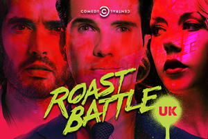 Roast Battle UK. Image shows from L to R: Russell Brand, Jimmy Carr, Katherine Ryan.
