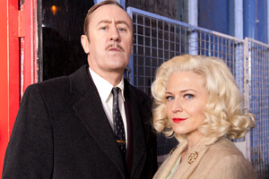 Rock & Chips. Image shows from L to R: Freddie 'The Frog' Robdal (Nicholas Lyndhurst), Joan Trotter (Kellie Bright).